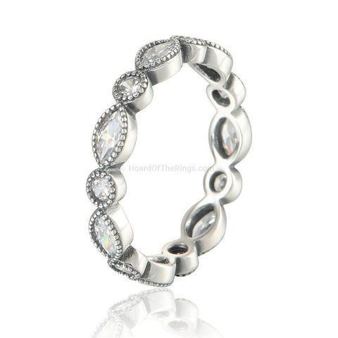 Art Deco Silver Eternity Ring - HoardOfTheRings.com