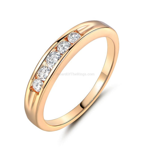 Gold Plated Crystal Set Eternity Ring - HoardOfTheRings.com
