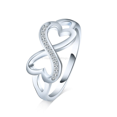 Double Love Entwined Infinity Ring With Cubic Zirconia Stones - HoardOfTheRings.com