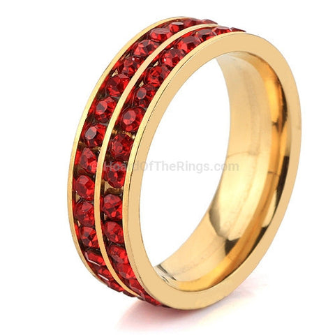 Crystal Set Eternity Ring in Red, Blue, Clear or Black Stone - HoardOfTheRings.com