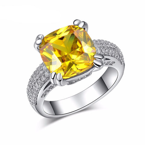 Brilliant 4ct CZ Ring - Yellow or Pink - HoardOfTheRings.com
