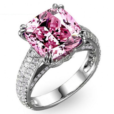 8ct Pink CZ 925 Sterling Silver Ring - HoardOfTheRings.com