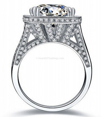 Big 12ct Stone on a 14kt White Gold Ring - HoardOfTheRings.com