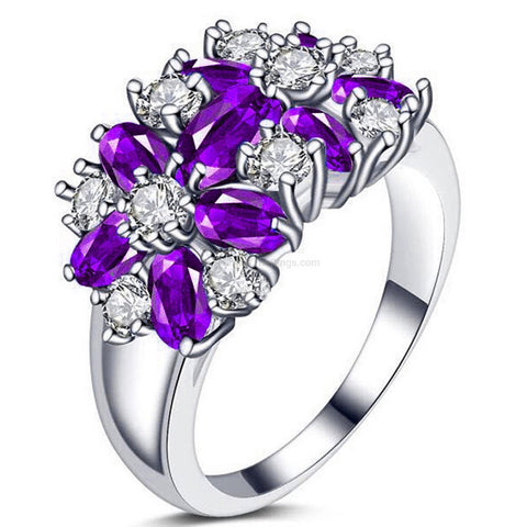 10ct Amethyst CZ White Platinum Plated Ring - HoardOfTheRings.com