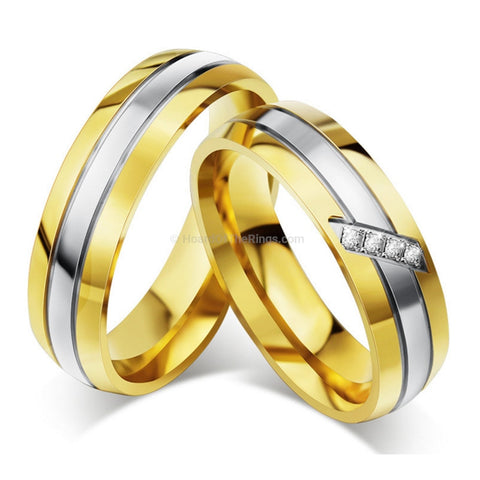 1 Pair Gold Silver Titanium Steel Rings - HoardOfTheRings.com