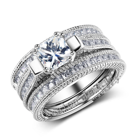 Superb 10ct 3-in-1 White Gold Plated Ring - HoardOfTheRings.com