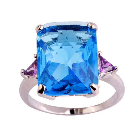 Huge 18ct Deep Blue CZ Ring - HoardOfTheRings.com