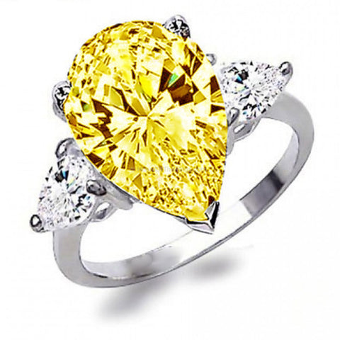 5CT Yellow CZ White Platinum Plated Ring - HoardOfTheRings.com