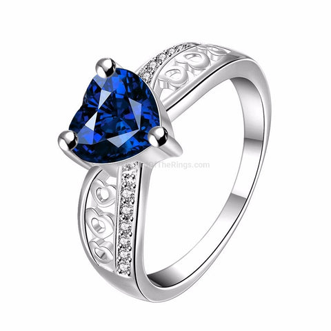 Silver Plated Blue Heart Stone Ring - HoardOfTheRings.com
