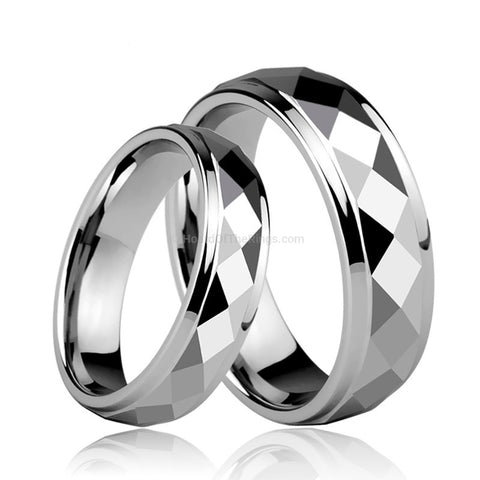 His and Hers Tungsten Carbide Prism Ring - HoardOfTheRings.com