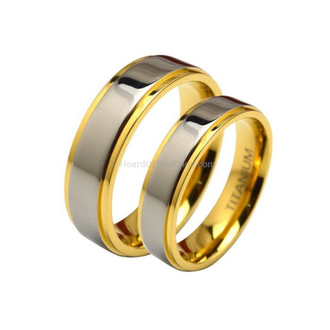 1 Pair Gold Plated Lovers Titanium Bands - HoardOfTheRings.com