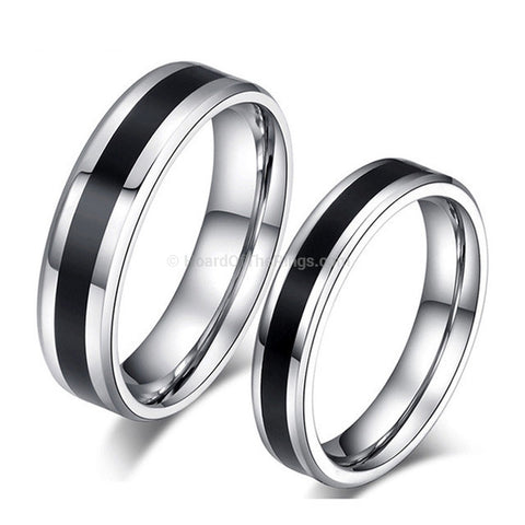 Pair of Classic Steel Unity Rings - HoardOfTheRings.com