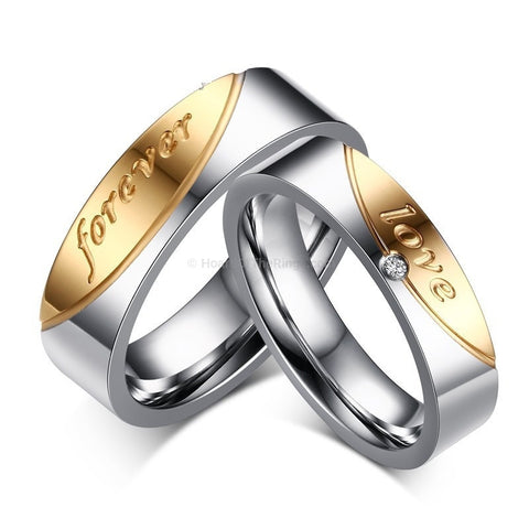 Platinum Plated Double Forever Love Rings - HoardOfTheRings.com