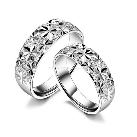 Frosted Silver His + Her Rings - HoardOfTheRings.com