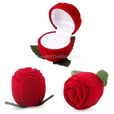 Red Rose Bud Ring Presentation Box - HoardOfTheRings.com