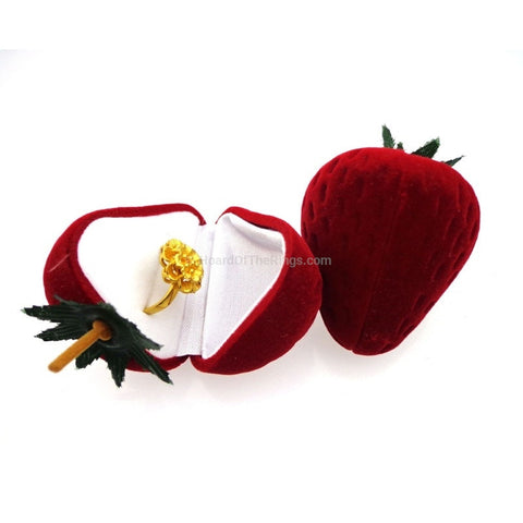 Velvet Strawberry Surprise Ring Case - HoardOfTheRings.com