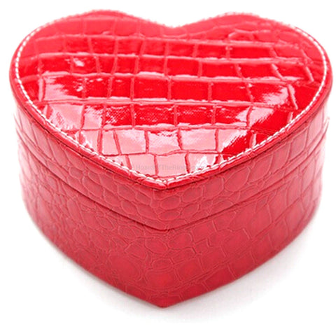 Heart Shaped Crocodile Style Leather Style Jewellery Box - HoardOfTheRings.com