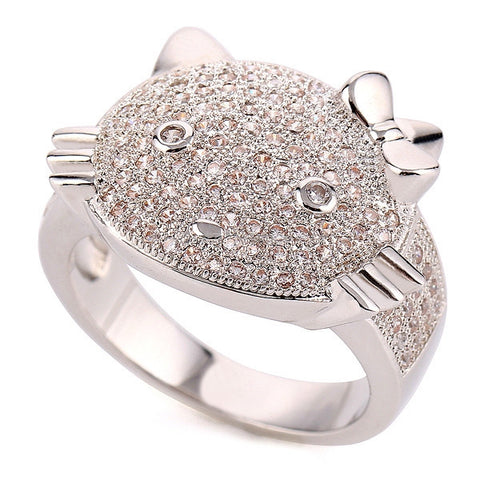 Bling'd Out Kitty Ring - HoardOfTheRings.com