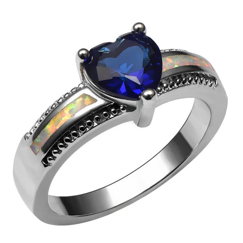 Deep Blue Sapphire 925 Sterling Silver Ring - HoardOfTheRings.com