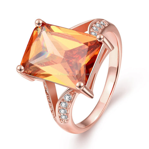 Large Sun Kissed Orange CZ Rose Gold Ring - HoardOfTheRings.com