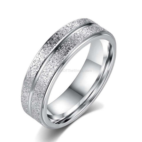 Frosted Stainless Steel Double Row Ring - HoardOfTheRings.com
