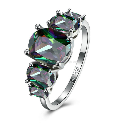 Glittering Green Platinum Plated Ring - HoardOfTheRings.com