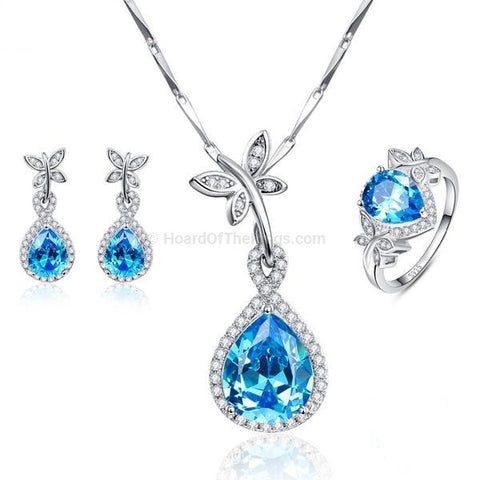 Ocean Blue 925 Sterling Silver Blue CZ Drop Earrings + Ring + Necklace Set - HoardOfTheRings.com
