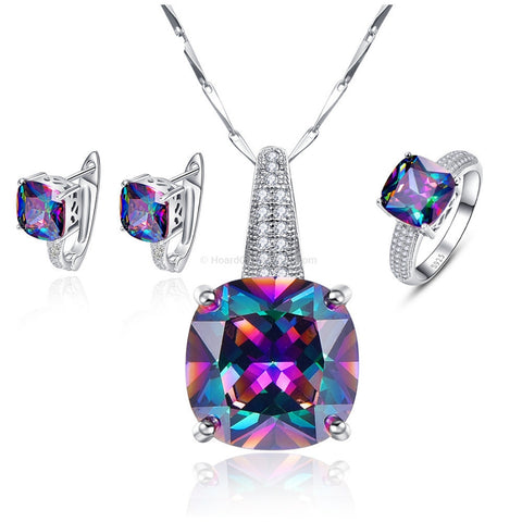 Multi Colour Zirconia 925 Sterling Silver Necklace + Earrings + Ring Set - HoardOfTheRings.com