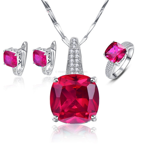 3 Piece Set Ruby Red Earrings + Necklace + Ring 925 Sterling Silver - HoardOfTheRings.com