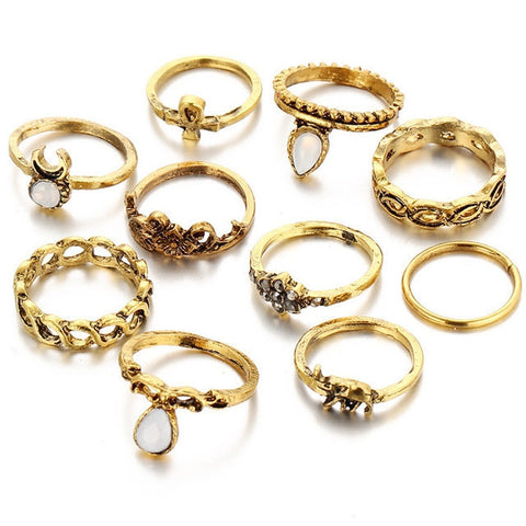 10 Piece Tribal Ring Set - Antique Gold or Vintage Silver - HoardOfTheRings.com