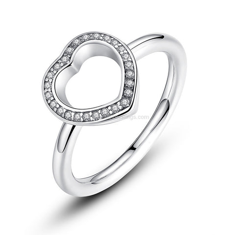 Elegant Sterling Silver Heart Ring