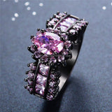 Beautiful Pink Oval Black Stone Ring