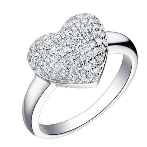 Platinum Plated Crystal Infused Heart Ring