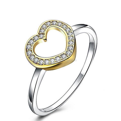 Gold Trimmed Sterling Silver Heart Ring - HoardOfTheRings.com