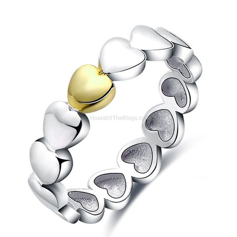 Band Of Hearts 925 Sterling Silver Ring