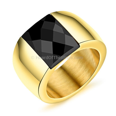 Casual Gold Dress Ring Black Crystal