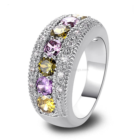 Peridot Purple White Zirconia Silver Cocktail Ring