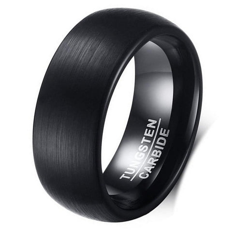 Black Is Black Brushed Tungsten Mens Ring + Gold Option