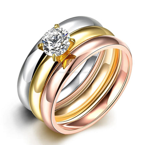 3 in 1 - 1.25ct CZ Diamond With Gold, Rose Gold + Silver Bands