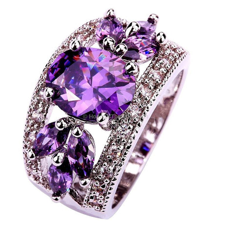 Art Deco Fancy Oval Cut Purple Stone In Silver Setting