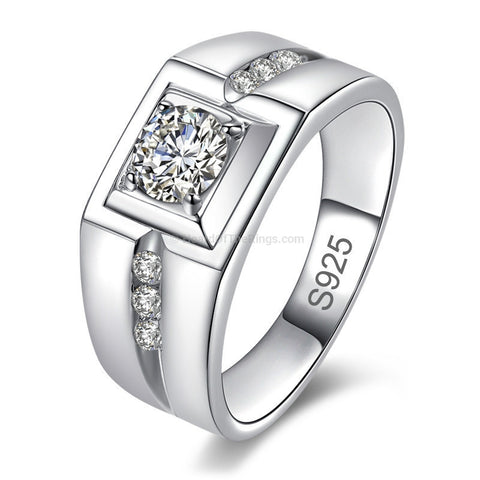 1 Carat Mens Sterling Silver Dress Ring