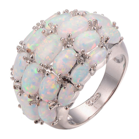 White Fire Opal 925 Sterling Silver Ring