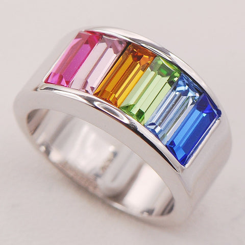 Multi Colour Crystal Peridot Morganite Silver Ring