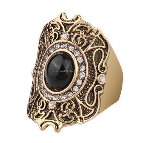 Big Vintage Turkish Style Crystal Ring - HoardOfTheRings.com