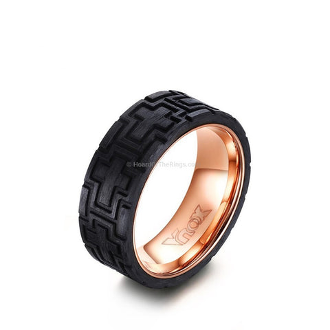 Carbon Fiber Rose Gold Men's Cross Ring