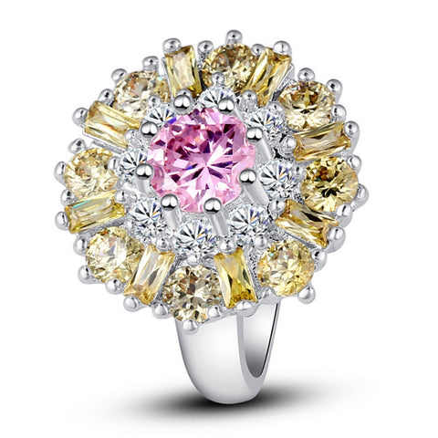 Champagne Gold Pink Stone Flower Ring With Silver Band