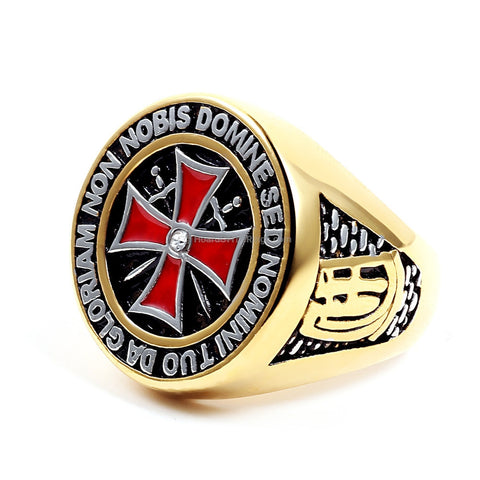 Gold Cross Ring With Central Stone