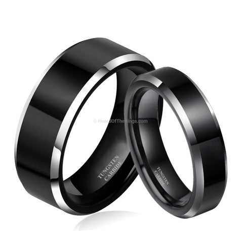 Couples Pair Of Sexy Black Tungsten Rings - HoardOfTheRings.com