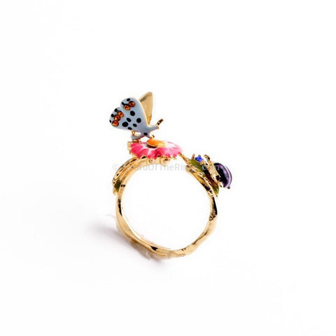 Cute Butterfly and Ladybird Flower Ring - HoardOfTheRings.com