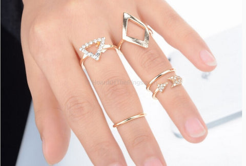5 Piece Gold + Silver Ring Set - HoardOfTheRings.com